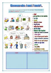 English Worksheet: classroom rules : I must , I mustn´t