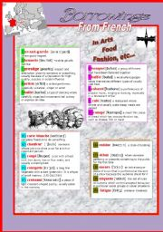 English Worksheet: Borrowings from French
