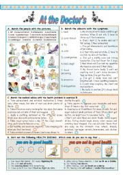 English Worksheet: GOING TO THE DOCTOR (Key included)