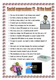 English worksheet: Social expressions 12 - at the bank