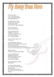English Worksheets: Aerosmith-Fly away from here (lyric included)