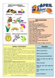 English Worksheets: April worksheet 4/12 (talk, read, discuss)