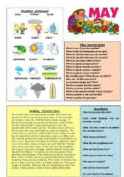 English Worksheet: May worksheet 5/12 (talk, read, discuss)
