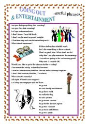 English Worksheets: GOING OUT -  useful phrases.