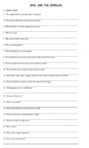 English Worksheets: Reading comprehension questions Dian and the Gorillas