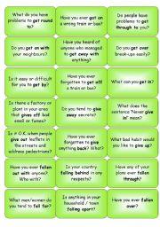 Phrasal Verbs - question cards