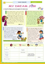 English Worksheet: My Dream Job - Reading leading to Writing series  for Upper elementary students   (1st 45 minute-lesson)