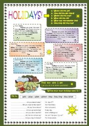 English Worksheets: HOLIDAY dialogue, question words