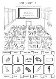 English teaching worksheets: School objects