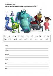 MONSTERS INC SUMMARY - ESL worksheet by loralaura77