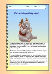 English Worksheet: What is the largest living animal (color)