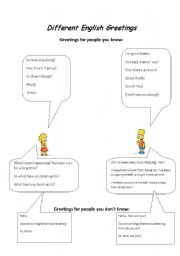 English Worksheets: Different English Greetings