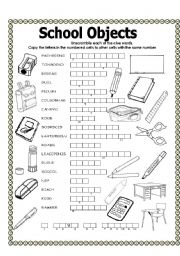English Worksheet: Double puzzle (school objects)