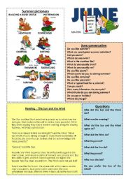 English Worksheet: June worksheet 6/12 (talk, read and discuss)