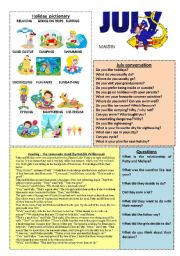 English Worksheet: July worksheet 7/12 (read, talk and have fun :-)
