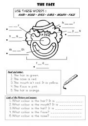 English Worksheets: THE FACE : Complete, colour & answer.