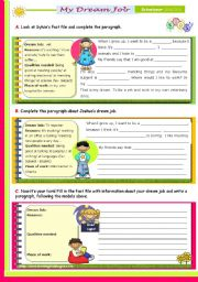 English Worksheets: My Dream Job  - Writing Series for Upper Elementary Students  (2nd 45m-class)