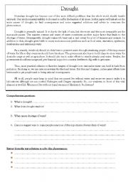 English Worksheets: Reading about Drought (3pages) comprehension - vocabulary - grammar - writing