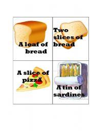 English Worksheet: food quantifiers flash cards