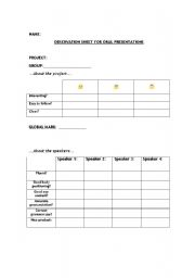 English Worksheet: Observation Sheet for Oral Presentations and Self Evaluation Sheet