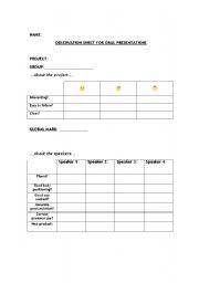 English Worksheets: Observation Sheet for Oral Presentations and Self Evaluation Sheet