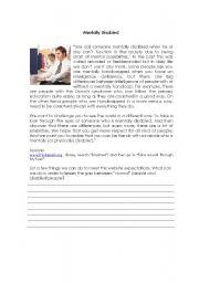 English Worksheets: Mentally Disabled