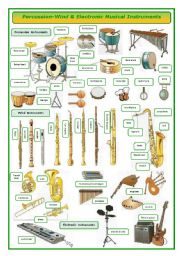 English Worksheets: Percussion-wind and electronic musical instruments-pictionary