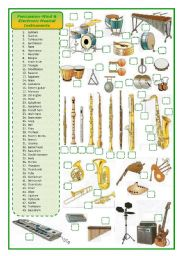 English Worksheet: Percussion-wind-electronic musical instruments-matching