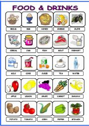 English Worksheet: Food and Drinks pictionary