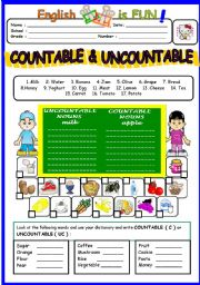 English Worksheet: Countable & Un countable Nouns