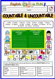 English Worksheet: Countable & Un countable Nouns