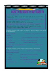 English Worksheet: USED TO / BE USED TO / GET USED TO