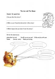 Printables The Lion And The Mouse Worksheets english worksheets the lion and mouse worksheet mouse