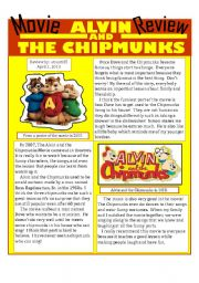 English Worksheets: Movie Review: Alvin and the Chipmunks + questions