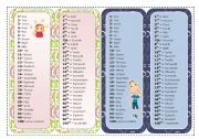 English Worksheet: NUMBERS BOOKMARKS