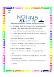 English Worksheets: Finding Nouns
