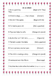 English Worksheets: do as shown