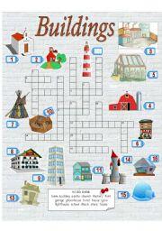 English Worksheet: Crossword puzzle - Buildings