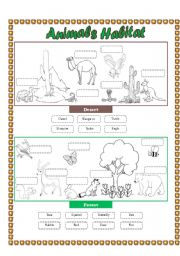 English Worksheets: Animals Habitat (desert - forest) - Cut and paste part 2