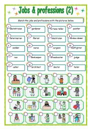 English Worksheet: jobs & Professions - matching (2/3)
