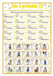 English Worksheet: Jobs & Professions - matching (3/3)