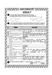 English Worksheet: Discursive Essay Made Easy + 12 Sample Essays