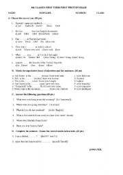 English Worksheets: exam questions for 8th grades