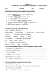 English Worksheets: exam questions for 9th grades group A