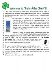 English Worksheet: Text about Dublin