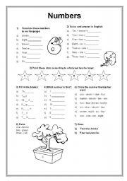Numbers 1 - 12 - ESL worksheet by Aninha Feliz