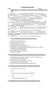 English Worksheets: Biographical sketches