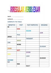 English worksheet: IRREGULAR VERBS EXAM