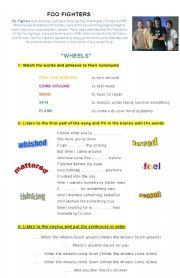 English Worksheets: Song worksheet Wheels - Foo fighters