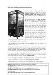 English Worksheet: Boy Gets Trapped in Vending Machine